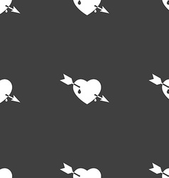 Arrow heart icon sign Seamless pattern on a gray vector image
