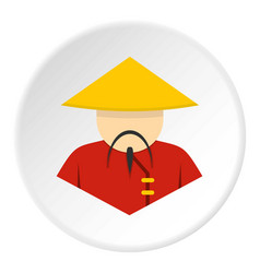 asian man in conical straw hat icon vector image
