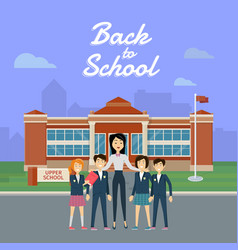 Back to school teacher with pupils on school yard vector
