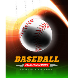 Baseball in the backlight on a black background vector