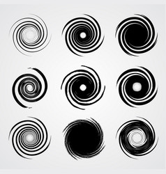 Black spiral swirl set vector