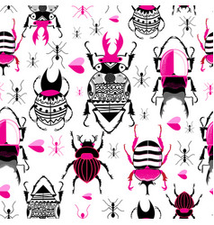 bright seamless pattern with beetles and ants vector image