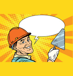 builder repairman with the tool trowel vector image