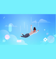 Businesswoman falling down financial crisis vector