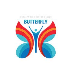 butterfly logo desin positive people wings vector image