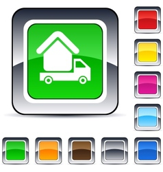 Camper square button vector