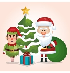 Card santa claus elf tree gift bag design isolated vector