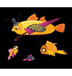 Cartoon characters dandy fish with umbrella vector