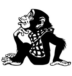 Cartoon chimp wearing a scarf black and white vector