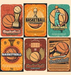 Championship basketball sport game posters vector