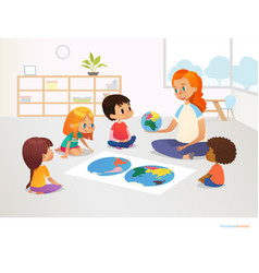 Children sit around world map and redhead female vector