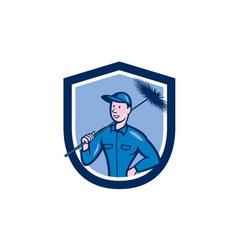 Chimney Sweep Worker Shield Cartoon vector