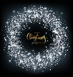 Christmas background with silver sparkles with vector