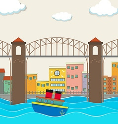 City view with bridge and boat vector