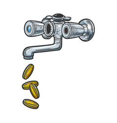 Coin from faucet sketch vector
