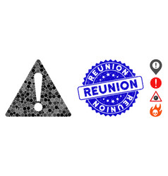 Collage warning icon with textured reunion stamp vector