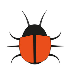 color image cartoon beetle virus icon vector image