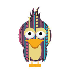 Colorful bird with texture dots and lines design vector