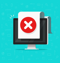 computer with error document sign icon vector image