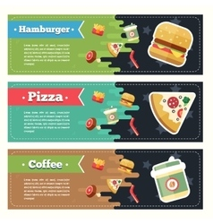 Concept fast food flat banner set Flayer vector