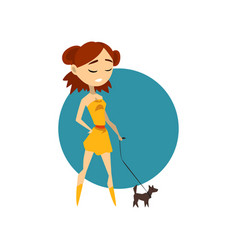 Cool fashionable girl with little dog vector
