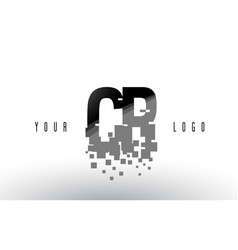 Cr c r pixel letter logo with digital shattered vector