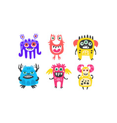 Cute colorful monsters with open mouth set vector