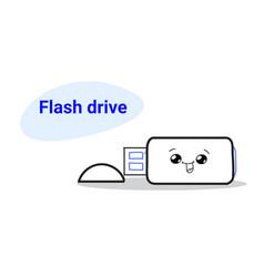 cute flash drive cartoon comic character vector image