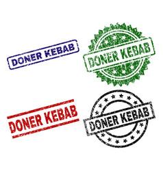 Damaged textured doner kebab stamp seals vector