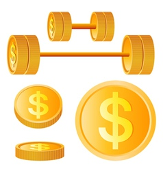 dumbbell golden discs with dollar vector image