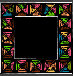 ethnic stylized handmade frame with colored vector image