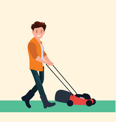 farmer is a jack-of-all-trades mowing the grass vector image
