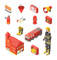 firefighter man and equipment icons set isometric vector image