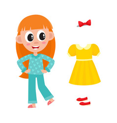 flat girl kid in nightgown outfit set vector image