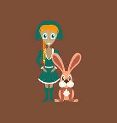 flat on background of christmas girl rabbit vector image