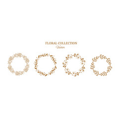 floral wreaths collection golden vector image