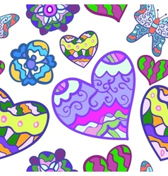 Funny seamless background with heart butterfly and vector image