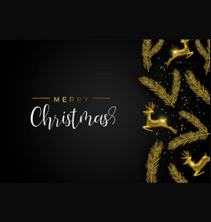 gold christmas pine tree and deer ornament card vector image