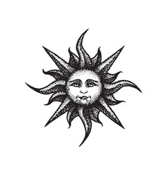 hand drawn sun vector image