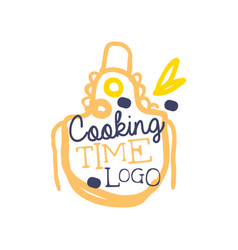 handwritten lettering logo with apron and phrase vector image