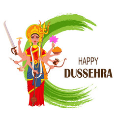 happy dussehra maa durga on abstract background vector image