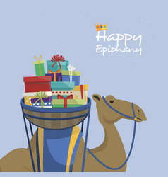 Happy epiphany day camel transporting gifts and vector
