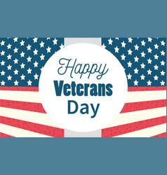 Happy veterans day label phrase on usa flag vector