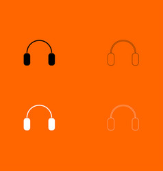 Headphone black and white set icon vector