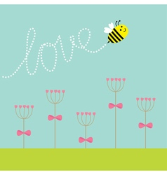 Heart stick flower set and flying bee Green grass vector image