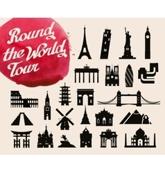 historic buildings of the world set of icons vector image