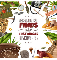Historical discoveries archeology frame vector