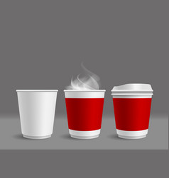 hot coffee cup with smoke on gray background vector image