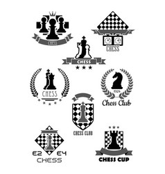 Icons for chess club and game contest vector