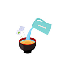 Instruction of preparing noodle with pouring vector